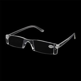 Wholesale Reading Glasses Strengths - 20Pcs Lot Plastic Clear Rimless Eyeglasses Presbyopia White Reading Glasses Unbreakable Women Men Transparent Reading Glasses +1.00-+4.00
