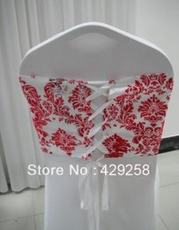 Wholesale Damask Corset - Wholesale-Free Shipping! 100pcs White and Red flocking taffeta chair cover sash also call elegance damask corset chair sash