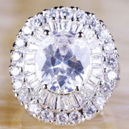 Wholesale Huge Cut - Wholesale Junoesque Huge Jewelry Oval Cut Holy White Topaz 925 Silver AAA Ring Size 7 Romantic Love Style