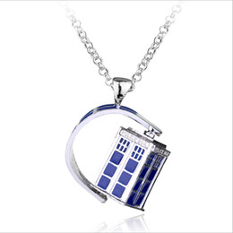 Wholesale Police Box Necklace - Free Shipping New BBC Television Doctor Who Tardis Police Box Vintage Blue Chain Necklaces Pendants Men Women Jewellery Gifts Drop Shipping
