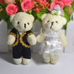 Wholesale Teddy Bear Couple Cartoon - 8cm Cartoon Lover Teddy Bear Bride&Groom Plush Animals Toys For wedding decoration A couple of bear Wholesale 25pair Lot