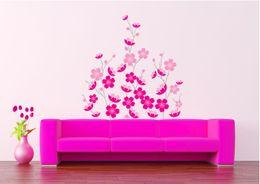 Wholesale romantic wallpaper for bedroom - Pink Sakura Wall Art Decor Sticker Romantic Flowers Wallpaper Mural Poster Bedroom Living Room Decoration DIY Art Home Decal