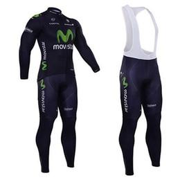 Wholesale Long Bib Movistar - 2015 Movistar Mountain Bike Jerseys Quick Dry Breathable Mountain Biking Jerseys Long Black Cycling Clothing Tops+Long Bibs Pants