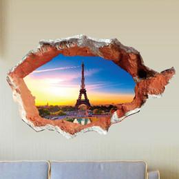 Wholesale Paris Wall Decals - 3D Paris Eiffel Tower Wall Sticker Through Brick Decal Kids Room Decor Wall Stickers Home Removable Wallpaper Decor
