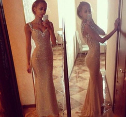 Wholesale Purple Glitter Gown - 2018 Glittering Champagne Sequins Mermaid Prom Dresses Spaghetti Straps Floor Length Sexy Bodice Backless Evening Gowns Formal Dress Custom