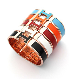 Wholesale H Buckle Bracelet - 2018 new Fashion Clsssic Jewelry Luxury Brand H Letter designer Bangle For Women Men rose Bangles Cuff Buckle love Bracelets with logo