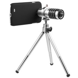Wholesale Manual Zoom Camera - Wholesale-Aluminum 12X Optical Zoom Manual Focus Telephoto Camera Lens for Samsung Galaxy S4