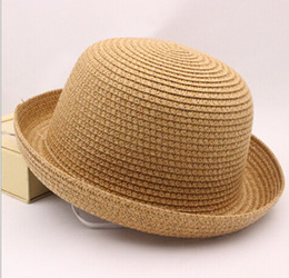 Wholesale Top Hat Sale Kids - hot sale summer girls and boys straw hat kid caps Unisex Vintage Beach Summer Trilby Packable Crushable Straw children's Sun Hat 6 colors