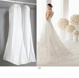 Wholesale Dress Dust Covers - 2016 Cheap No Logo Wedding Dresses With Long Train Bag Garment Cover Travel Storage Dust Cover Plus Size 180cm White Wedding Accessories