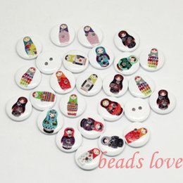 """Wholesale Russian Dolls Buttons - 50PCS Mixed 2 Holes """"Russian doll"""" Cartoon Wood Sewing Buttons Scrapbooking 15mm Knopf Bouton(w02828)Free shipping"""