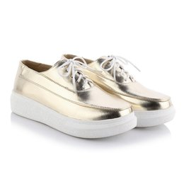Wholesale Thick Heel Womens Shoes - Fashion Girls' thick heel Platform Lace-up Casual shoes Gold and Silver colors Round toe Height increasing Womens' Sneakers in 34-39