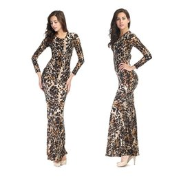 Wholesale Leopard Print Tight Dress - Top Sales Wild Leopard Dresses Lady New Tight Elastic Sexy Long Dress Nightclubs Show Women Clothing Pack Hip Dinner Party