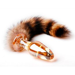 Wholesale Glass Anal Plugging - Free Shipping Sex Products Glass Anal Plug with Fox Tail Cat Tail Butt Plug Glass Anal Dildo Adult Sex Toys, Anal Toy
