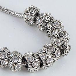 Wholesale Bulk Elements - Bulk Wholesale Trendy Clear Rhinestone Spiral Tibet Silver European Big Hole Charm Beads Fit Bracelet