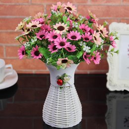 Wholesale Pack Fake Flowers - Yaran Artificial Flowers For Wedding Events Plastic Fake Flower Home Decor Wedding Bouquet 2 Packs Vase Decorative Silk Flowers