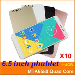 Wholesale Phablet Phones - 6.5 inch MTK6580 Quad Core Smart phone Android 5.1 4GB 1280*720 Dual SIM camera 5MP 3G WCDMA unlocked smart wake big screen phablet mobile