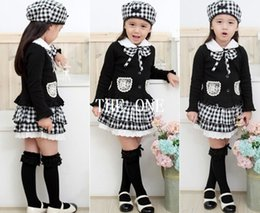Wholesale Clothes For Kids Girls School - children three piece suit for girls 3pcs girls kids outfit bowknot Coat Plaid Skirt Hat dress set school clothes for girls free shipping