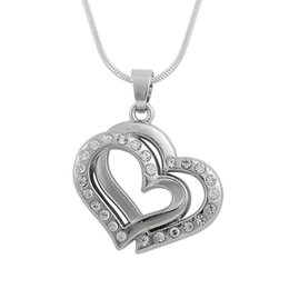 Wholesale Double Snake Necklace - snack chain zinc alloy material antique silver color White crystal double heart necklace for anniversary gift wholesale