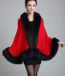 Wholesale Wool Cape Fur Collar - Gorgeous Solid Wool Pashmina Feeling Arcylic Faux Fur Jacquard Cape Poncho Cardigan Knitting Lady Shawl Stole Wraps Sweater Wool Collar Coat