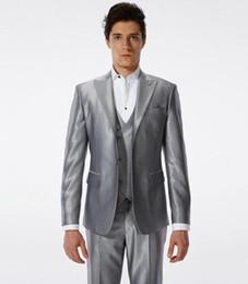 Wholesale Cheap Groomsmen Vests - Handsome Wedding Groom Tuxedos (Jacket+Vest+Pants) Men Suits Custom Made Formal Suit for Men Groomsmen Wedding Bestmen Tuxedos Cheap