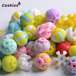 Wholesale New Food Products - New Product Half Round Lantern Bead Made From Food Grade Silicone With Baby Teether Bracelet necklace DIY Fashion Silicone Pendant