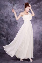 Wholesale Oblique Shoulder Bridesmaid - Retro elegant noble red oblique bride wedding dress bridesmaid dress can be customized multicolor