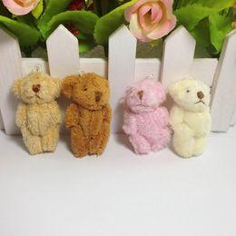 Wholesale Jewellery Bouquets Wholesale - 100pcs lot 4.5cm Cartoon Long Plush Mini Joint Bare Teddy Bear For Keychain Bouquet Phone Bag Plush Dolls jewellery accessory gift