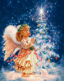 Wholesale Frames Cross Stitch - Diamond Painting Angel Children Cross-stitch Christmas Tree Night View Children's Festival DIY Hand-embroidered Diamond Purely Hand Ma