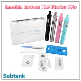 Wholesale Electronic Cigarette Kits Pack - 100% Authentic Innokin Endura T18 Starter electronic cigarettes Kit 1000mAh 14W Battery 2.5ml Top Fill Atomizer Glass Tank Gift packing DHL
