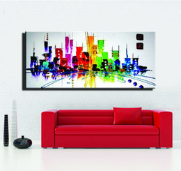 Wholesale Night City Oil Painting - colorfull Fashion modern ABSTRACT New York painting city night light canvas oil painting for living room single wall picture art