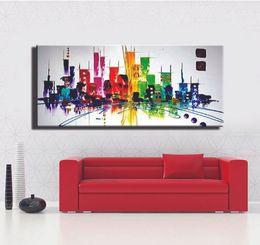 Canada Colorfull Mode moderne ABSTRACT New York peinture ville nuit lumière toile peinture à l'huile pour salon unique mur photo art Offre