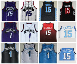 Wholesale Best Multi - Best Quality #1 Tracy McGrady Jersey 2017 New #15 Vince Carter Jersey Throwback North Carolina College Basketball Jersey Purple Black White