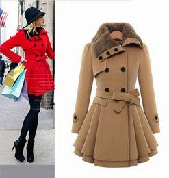 cammello Sconti Cappotto invernale in lana di qualità NUOVA ECONOMICA con grande collo in pelliccia sintetica doppio petto elegante cappotto invernale cammello oversize CAF214