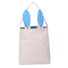plain white eco bag Promo Codes - Lovely Burlap Bunny Ears Basket Bag Eco Friendly Assorted Storage Shopping Bags Easter Cute Totes for Children 100pcs lot SK817