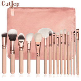 Wholesale Complete Cosmetic Set - Outtop Best Seller 15 Pcs Pro Soft Makeup Brushes Set Beauty Cosmetic Complete Eye Make Up Brush Kit +Case New Arrival 17f15