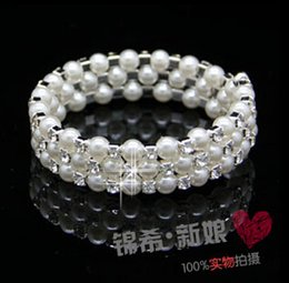 Wholesale Diamond Crystal Led - Bridal Accessories Fashion multilayer pearl diamond bracelet wide The bride intertwined spiral bracelets Bridal Jewelry bracelets