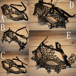 Wholesale Half Mask For Masquerade - Lace Halloween Masks Lovely Party Venetian Masquerade Decorations Half Face Lily Woman Lady Sexy Mardi Gras Masks For Christmas Gift Disco