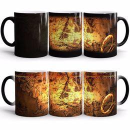 Gotas de té online-El señor del anillo de la temperatura fría caliente color sensible que cambia la taza de la taza del té del café de la leche con la CAJA de REGALO el envío de la gota