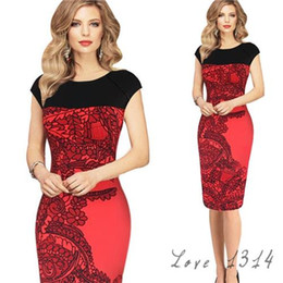 Wholesale Ladies Hot Red Night Dress - Red Womens Night Club Dresses Sleeveless Patchwork Ladies Dresses Crew Neckline Cotton Blends Material Hot Sale SV003282