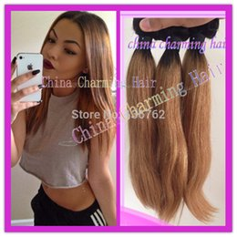 Wholesale Two Tone Hair Color Styles - new style #1b #27 honey blonde dark root straight ombre 2 tone colored virgin brazilian human hair weave bundles, two tone hair
