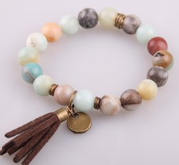 Wholesale Jewelry Clasps Bronze - Hot Sale Jewelry Energy Bracelets Made By Antique Bronze Tassel Beautiful Natural Faceted Amazonite Stone Bracelet bangle
