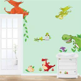 Pegatinas de dinosaurios de dibujos animados online-arte de la pared del dinosaurio decoraciones para el hogar pegatinas de animales niños decoración de la sala de dibujos animados diy adesivo parede niños tatuajes de pared zooyoocd002