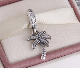 Wholesale Spark Jewelry - pandora summer charms Silver Sparking Palm Tree Charm 925 ale sterling silver charms loose beads diy jewelry for thread bracelet FL676