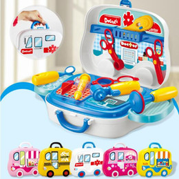 Wholesale Children Wheel Suitcase - 5 Styles Children Tools Kitchen Cooking Play Food Portable Suitcase With Wheels Dress-up Pretend Play Toys Christmas Gifts CCA8121 12set