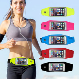 Wholesale Elastic Sports Waist Bag - Waterproof Running Belt For iPhone Android Smart phone Sports Waist Bag Reflective Pouch Breathable Sport Waist Belt Elastic Adjustable Band