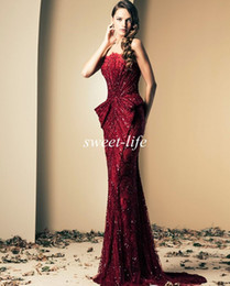 Wholesale Custom Pageant Wear - Ziad Nakad Evening Dresses 2016 Vintage Burgundy Strapless Crystals Beads Floor Length Luxury Mermaid Celebrity Pageant Dresses Prom Gowns