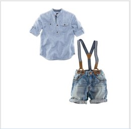 Wholesale Boys 24 Months Jeans - Baby Boys Clothes Sets Outfits Children Long Sleeve Shirt+Suspender Trousers 2pcs Kids Clothing Handsome Boy Gentleman Shirt+Suspender Jeans