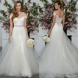 Wholesale Vintage Rhinestone Belts - 2016 New Arrival Crystal Rhinestone Mermaid Dresses Off the Shoulder Lace Bridal Gowns with Tulle Skirt Beaded Belt Low Illusion Back