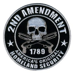 Wholesale Club Jackets Wholesale - Embroidery Patches for Jacket Motorcycle Club Biker outlaw MC custom 2ND AMENDMENT AMERICA'S ORIGINAL HOMELAND SECURITY 10.2cm 00875