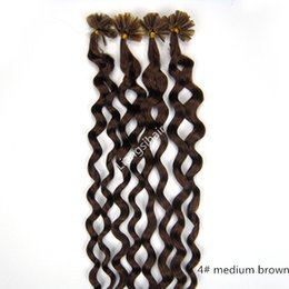 "Wholesale Curly Virgin Malaysian Hair Styles - Deep Curly Style Nail-hair Bundles 18""-26"" 50g 100s 4# Medium Brown Brazilian Malaysian Indian Peruvian Virgin Remy Human Hair Extension"